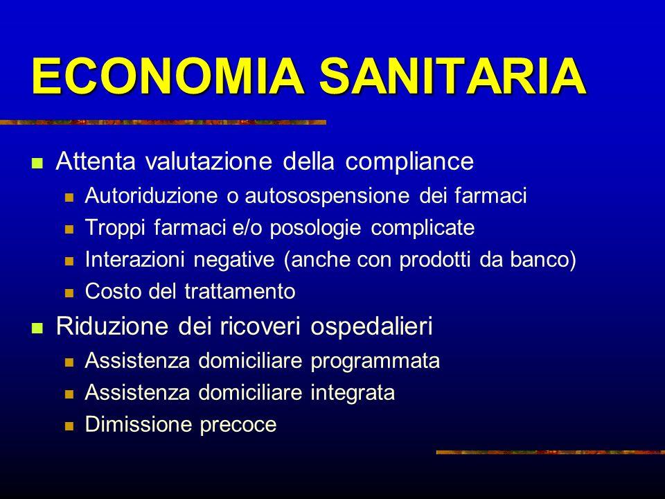 ECONOMIA SANITARIA Attenta valutazione della compliance
