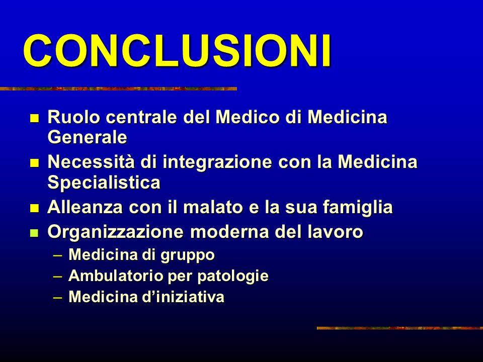 CONCLUSIONI Ruolo centrale del Medico di Medicina Generale