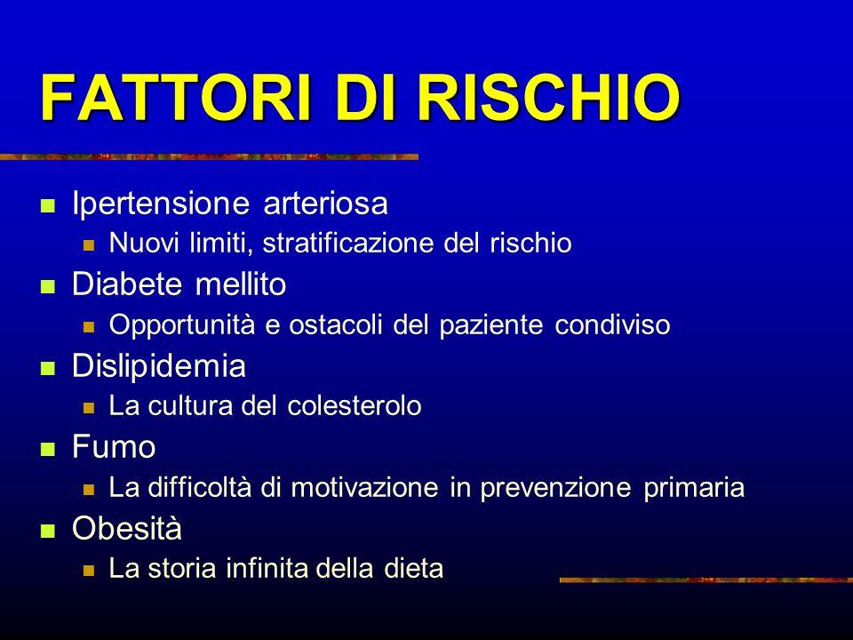 FATTORI DI RISCHIO Ipertensione arteriosa Diabete mellito Dislipidemia