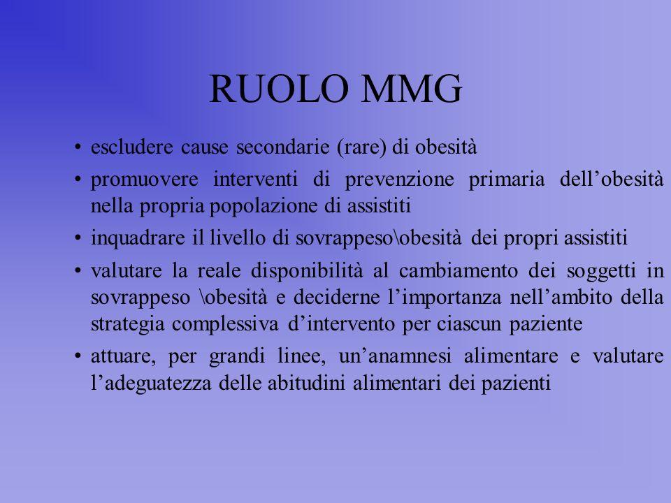 RUOLO MMG escludere cause secondarie (rare) di obesità
