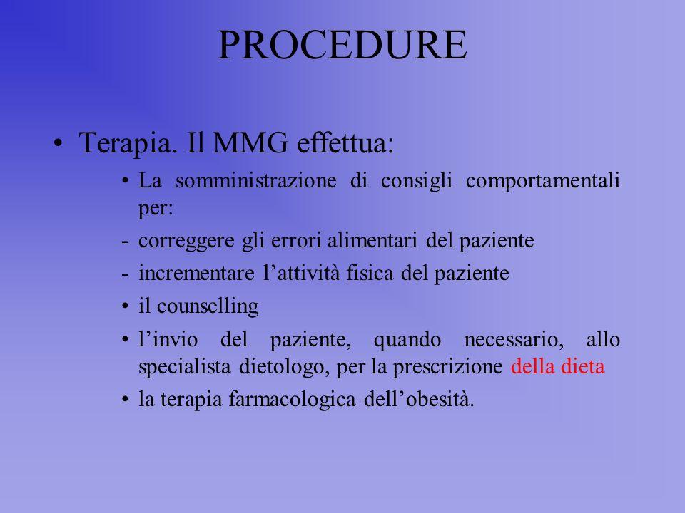 PROCEDURE Terapia. Il MMG effettua:
