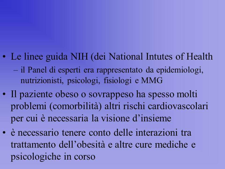 Le linee guida NIH (dei National Intutes of Health