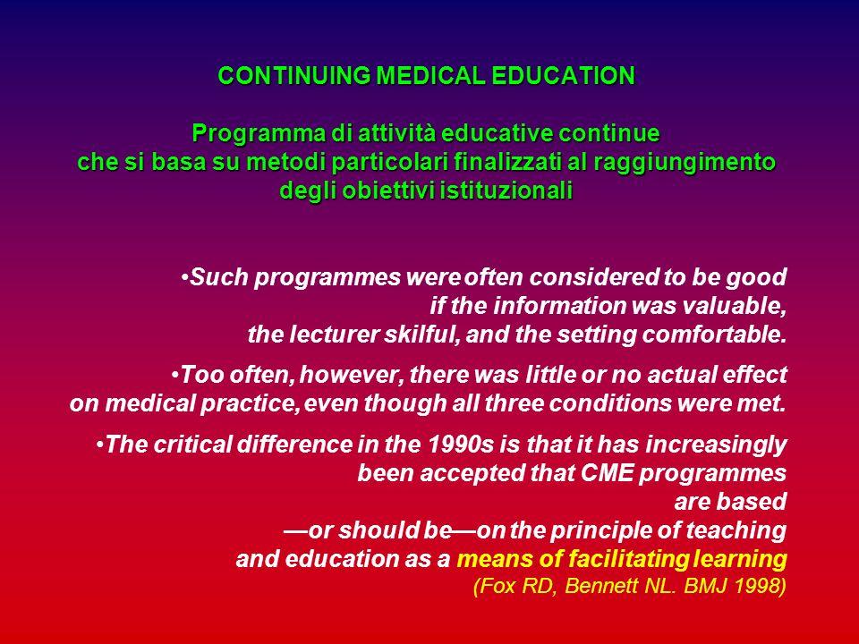 CONTINUING MEDICAL EDUCATION Programma di attività educative continue che si basa su metodi particolari finalizzati al raggiungimento degli obiettivi istituzionali