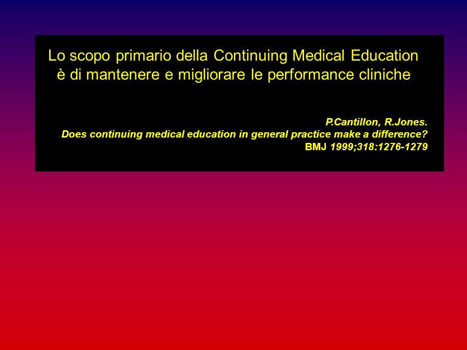 Lo scopo primario della Continuing Medical Education è di mantenere e migliorare le performance cliniche
