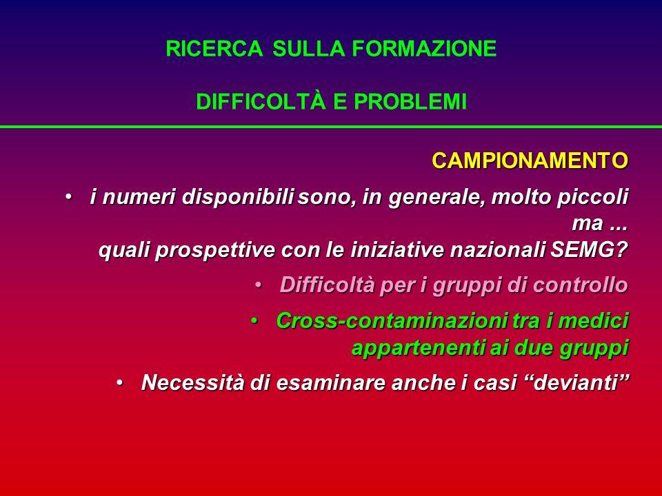 RICERCA SULLA FORMAZIONE DIFFICOLTÀ E PROBLEMI