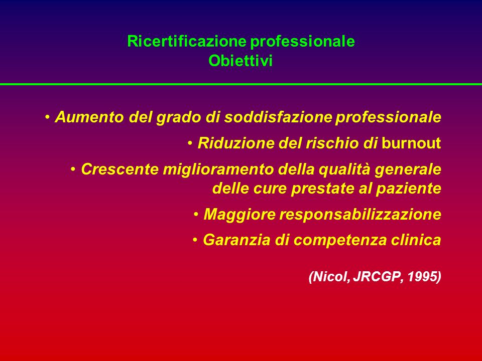 Ricertificazione professionale Obiettivi