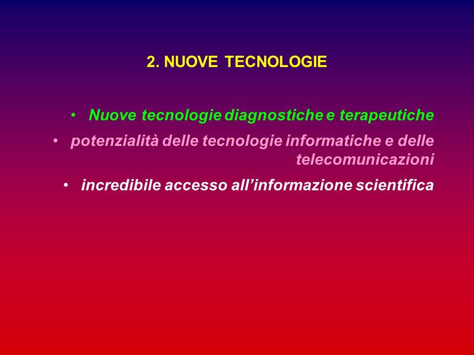 2. NUOVE TECNOLOGIE Nuove tecnologie diagnostiche e terapeutiche. potenzialità delle tecnologie informatiche e delle telecomunicazioni.