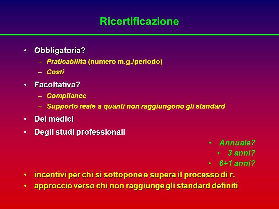 Ricertificazione Obbligatoria Facoltativa Dei medici