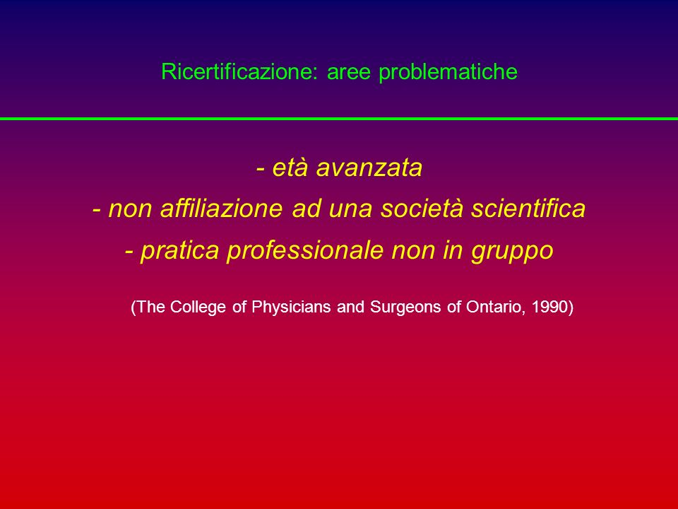Ricertificazione: aree problematiche