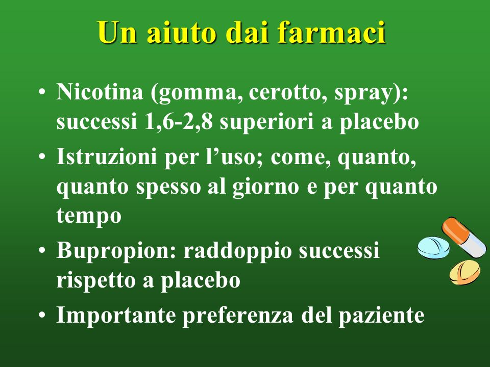 Un aiuto dai farmaci Nicotina (gomma, cerotto, spray): successi 1,6-2,8 superiori a placebo.
