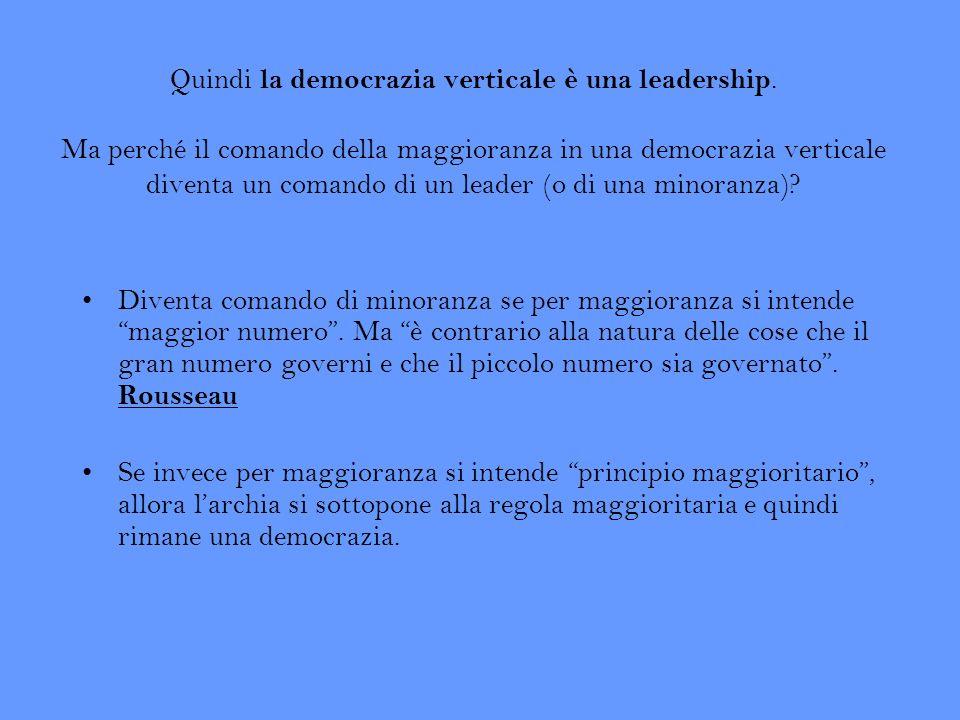 Quindi la democrazia verticale è una leadership