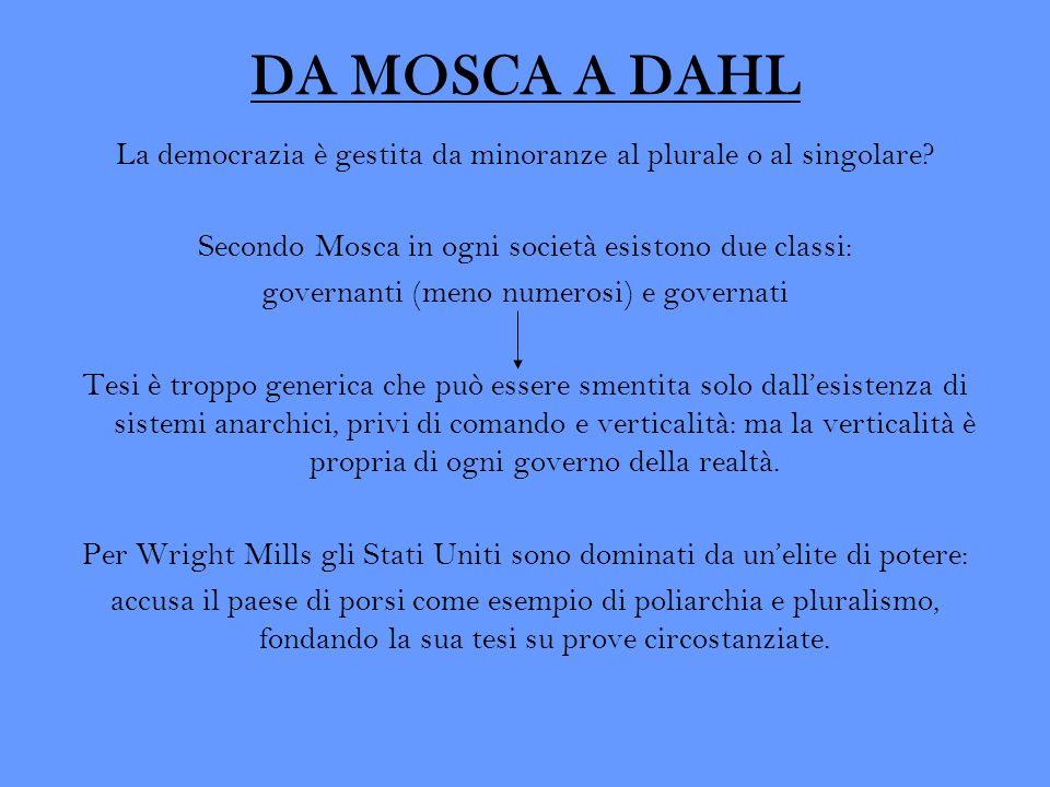 DA MOSCA A DAHL La democrazia è gestita da minoranze al plurale o al singolare Secondo Mosca in ogni società esistono due classi: