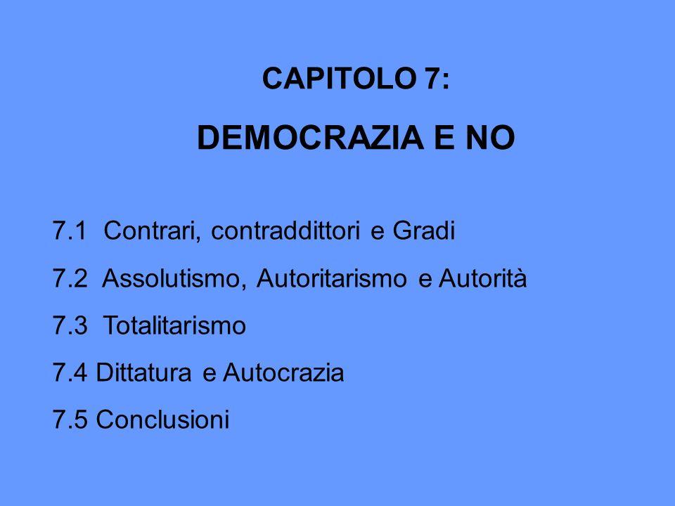 DEMOCRAZIA E NO CAPITOLO 7: 7.1 Contrari, contraddittori e Gradi