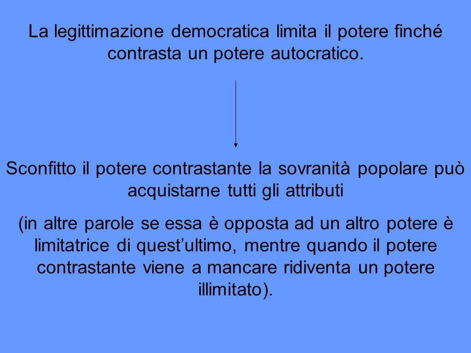La legittimazione democratica limita il potere finché contrasta un potere autocratico.