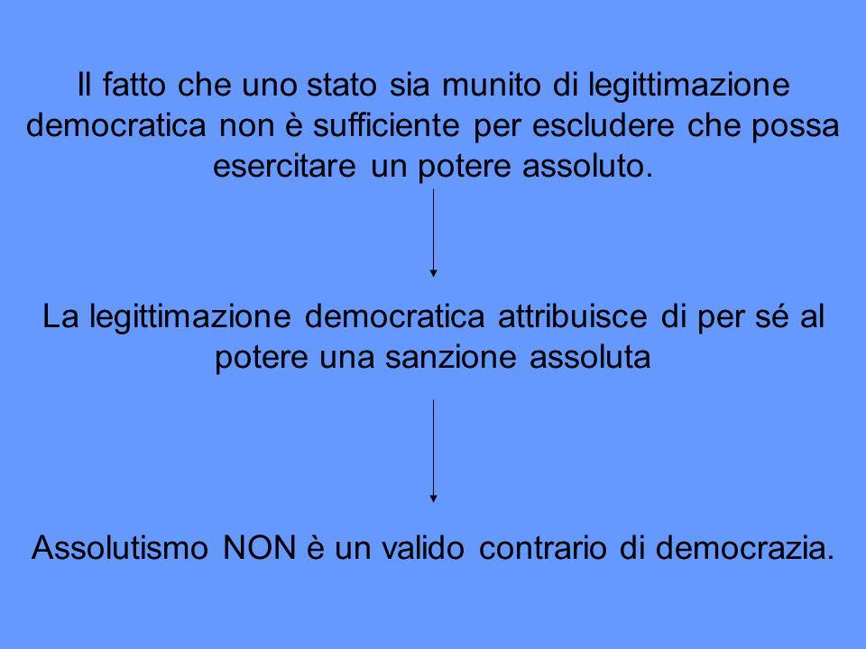 Assolutismo NON è un valido contrario di democrazia.