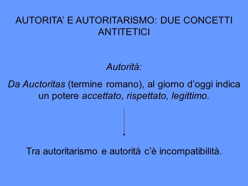 AUTORITA' E AUTORITARISMO: DUE CONCETTI ANTITETICI