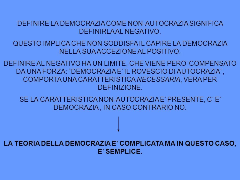 DEFINIRE LA DEMOCRAZIA COME NON-AUTOCRAZIA SIGNIFICA DEFINIRLA AL NEGATIVO.