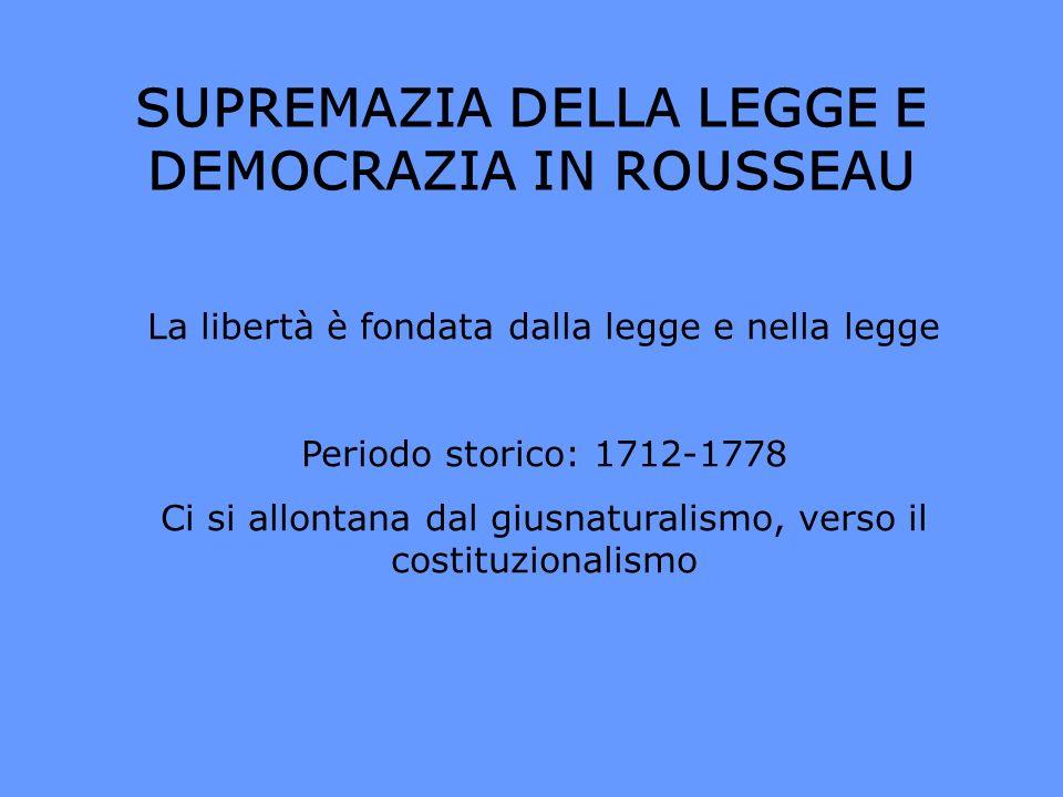 SUPREMAZIA DELLA LEGGE E DEMOCRAZIA IN ROUSSEAU