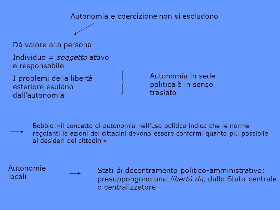 Autonomia e coercizione non si escludono