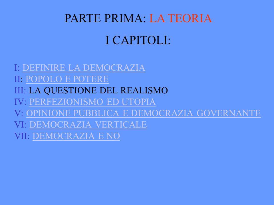 PARTE PRIMA: LA TEORIA I CAPITOLI: