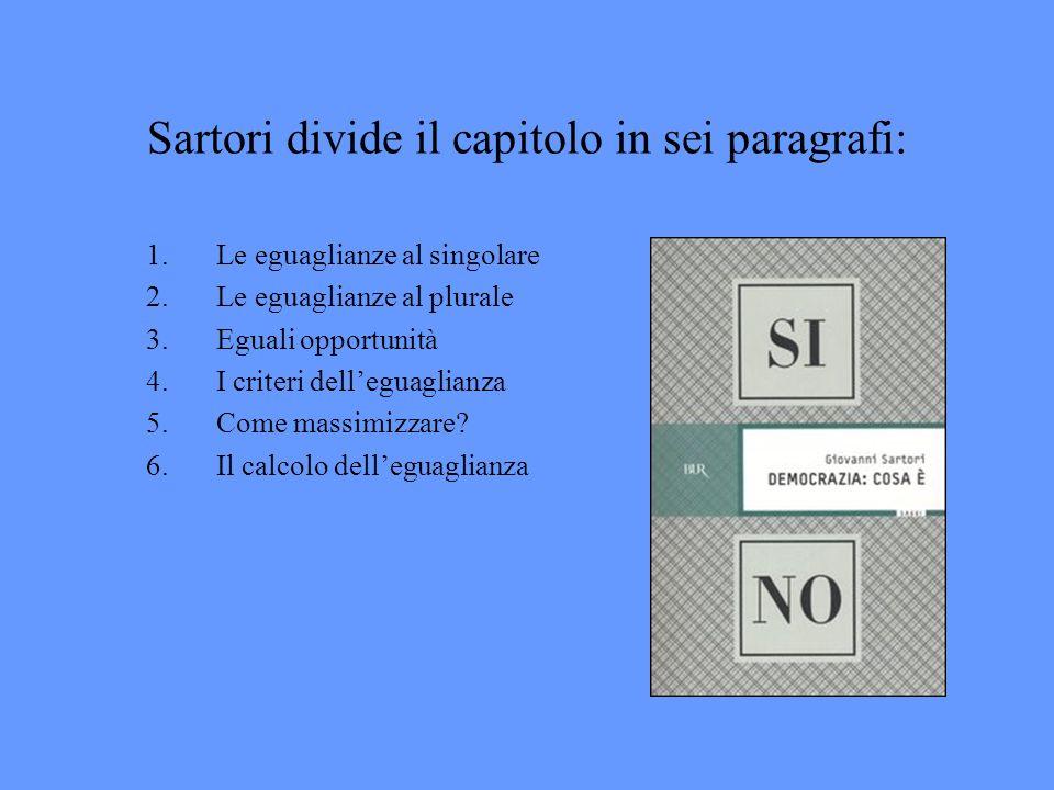 Sartori divide il capitolo in sei paragrafi: