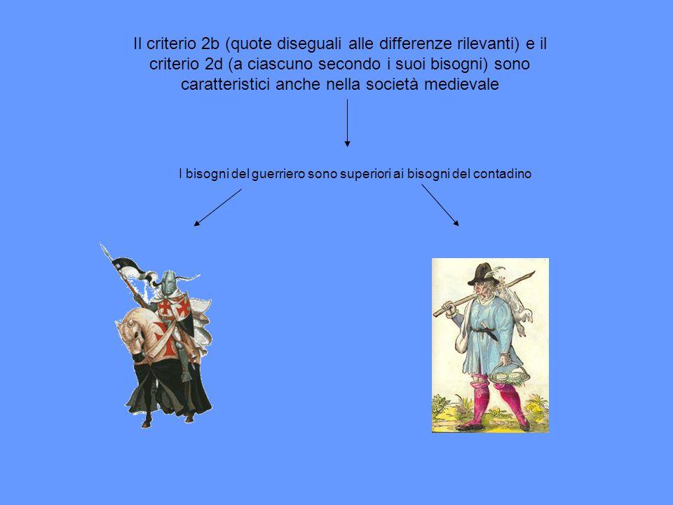 Il criterio 2b (quote diseguali alle differenze rilevanti) e il criterio 2d (a ciascuno secondo i suoi bisogni) sono caratteristici anche nella società medievale