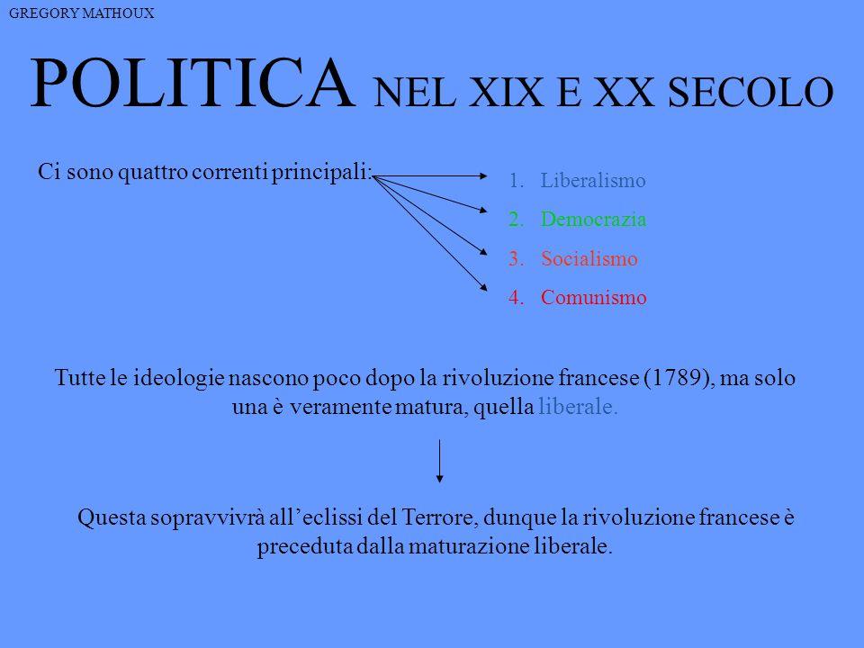 POLITICA NEL XIX E XX SECOLO