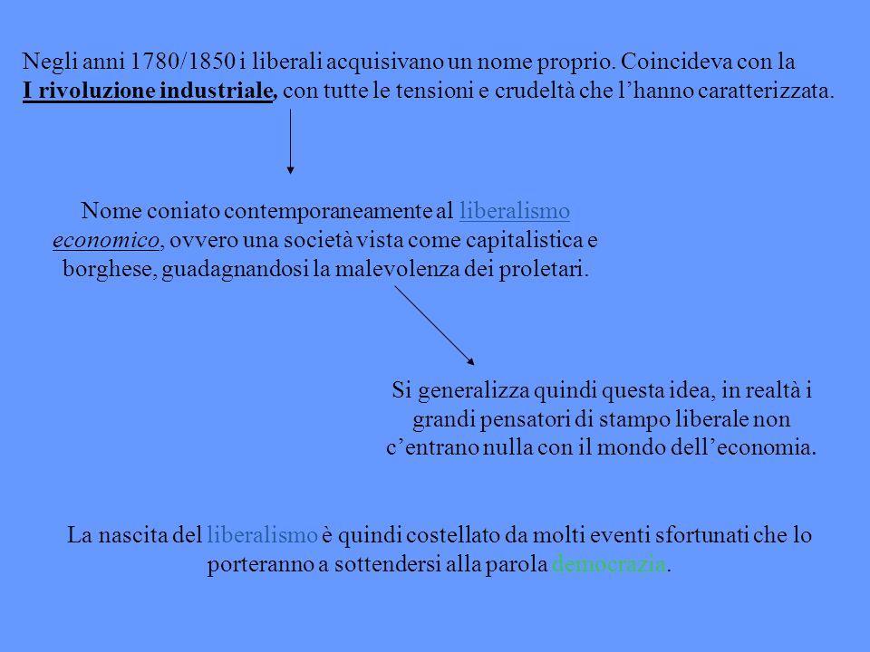 Negli anni 1780/1850 i liberali acquisivano un nome proprio
