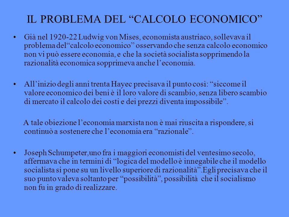 IL PROBLEMA DEL CALCOLO ECONOMICO
