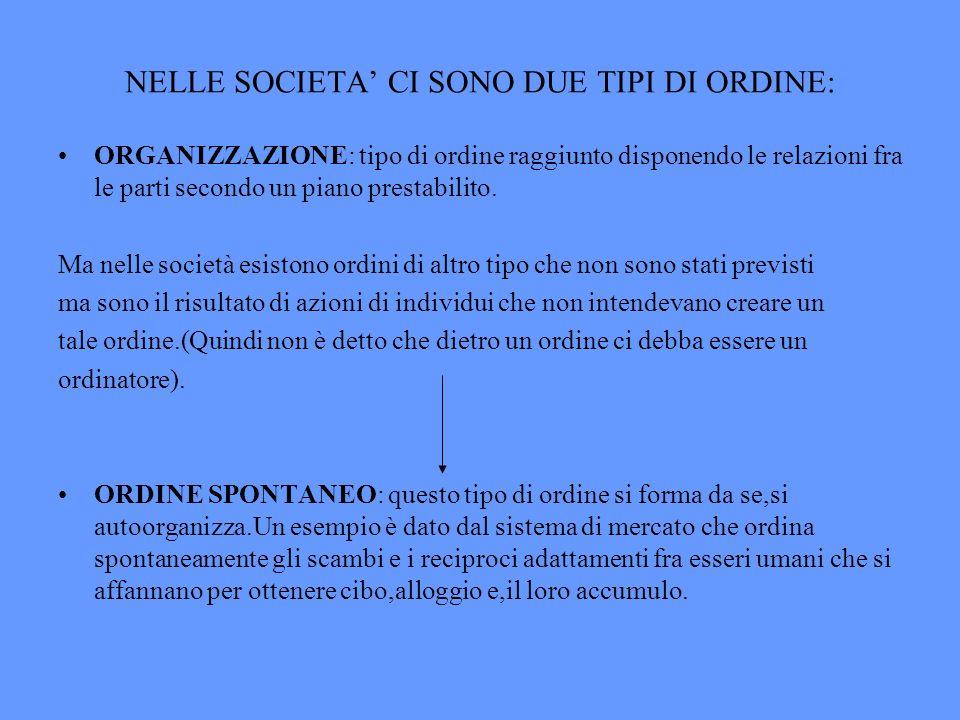 NELLE SOCIETA' CI SONO DUE TIPI DI ORDINE: