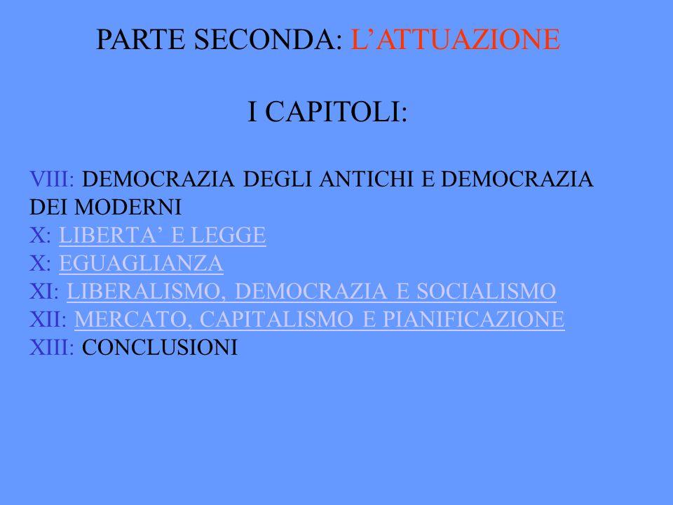 PARTE SECONDA: L'ATTUAZIONE I CAPITOLI: