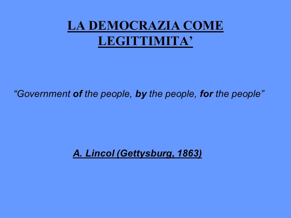 LA DEMOCRAZIA COME LEGITTIMITA'