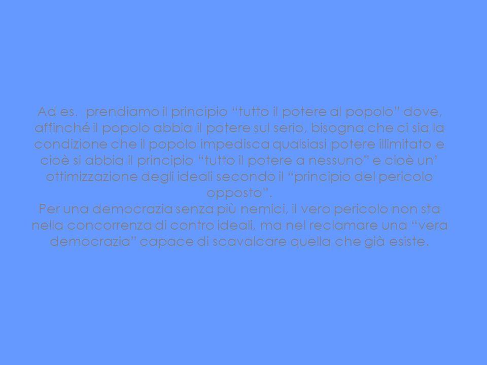 Ad es. prendiamo il principio tutto il potere al popolo dove, affinché il popolo abbia il potere sul serio, bisogna che ci sia la condizione che il popolo impedisca qualsiasi potere illimitato e cioè si abbia il principio tutto il potere a nessuno e cioè un' ottimizzazione degli ideali secondo il principio del pericolo opposto .