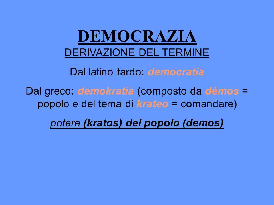 DEMOCRAZIA DERIVAZIONE DEL TERMINE Dal latino tardo: democratia