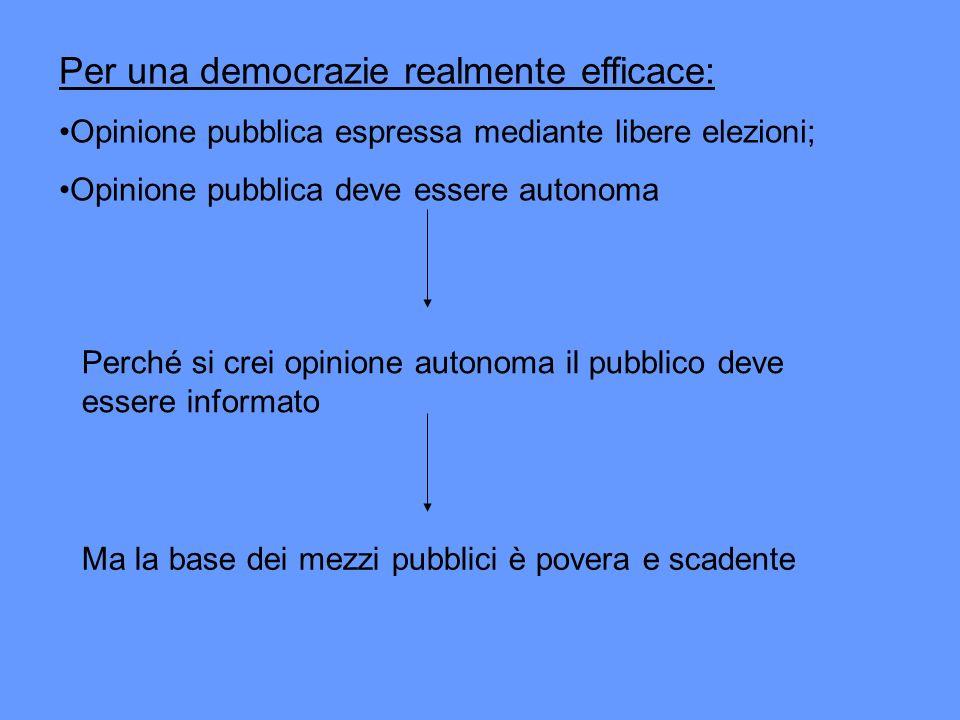 Per una democrazie realmente efficace: