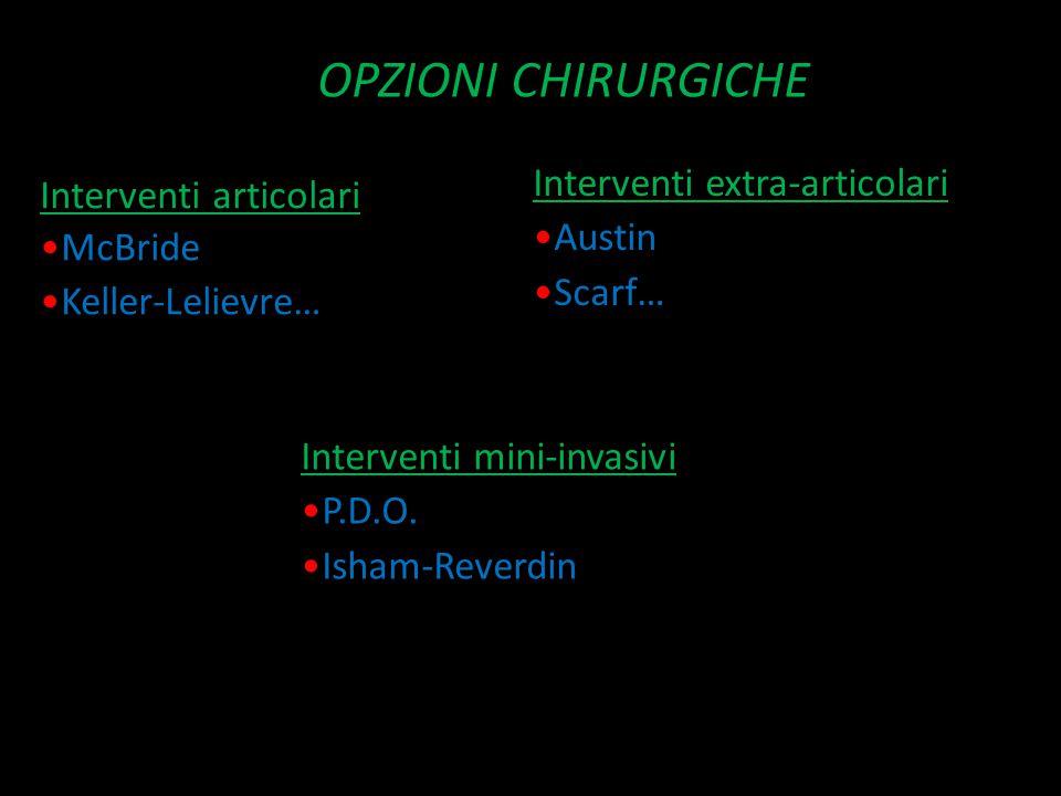 OPZIONI CHIRURGICHE Interventi extra-articolari Interventi articolari