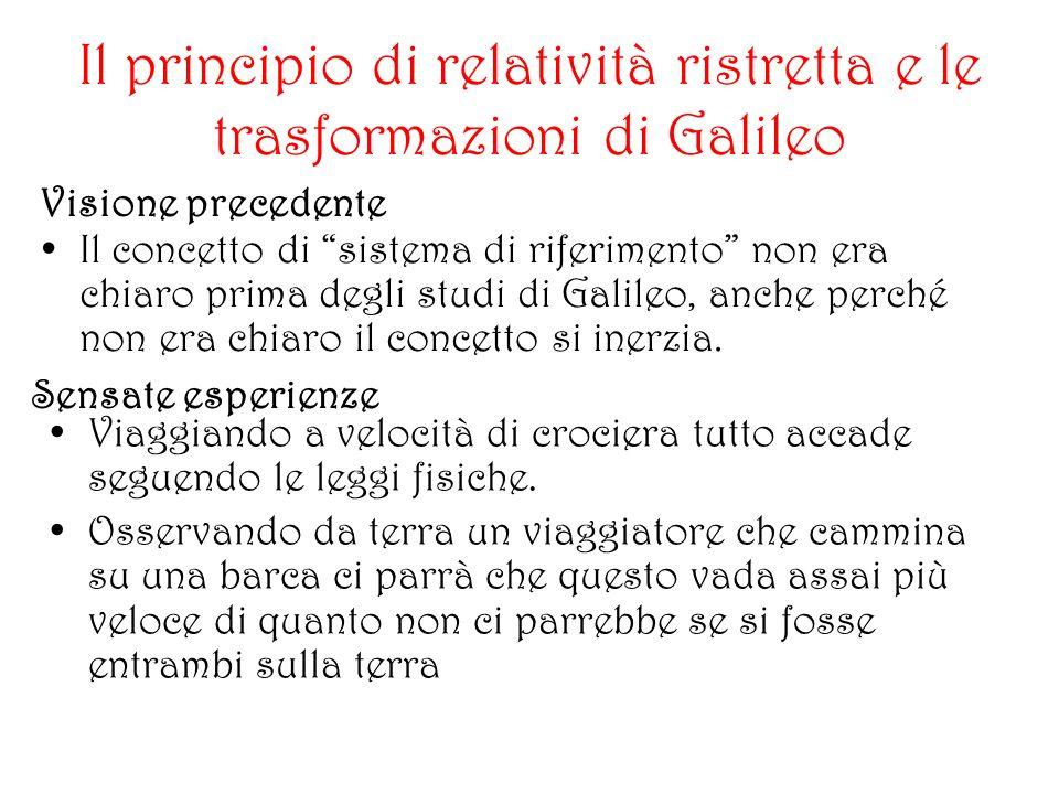 Il principio di relatività ristretta e le trasformazioni di Galileo