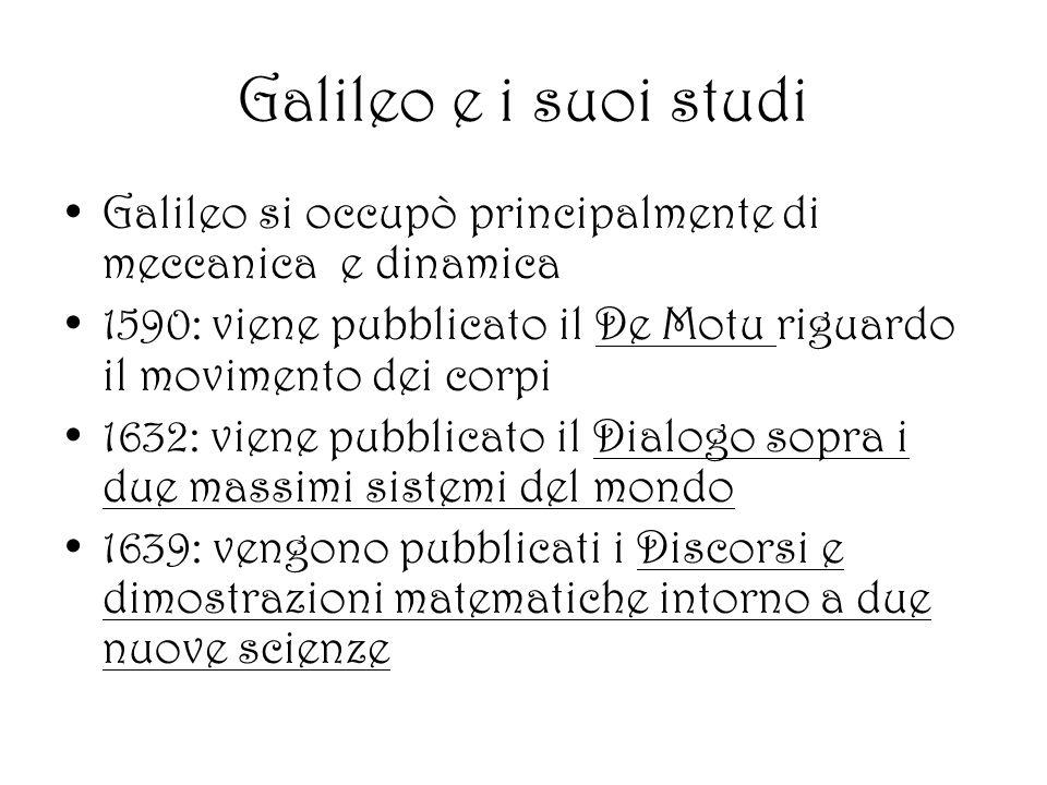 Galileo e i suoi studi Galileo si occupò principalmente di meccanica e dinamica. 1590: viene pubblicato il De Motu riguardo il movimento dei corpi.