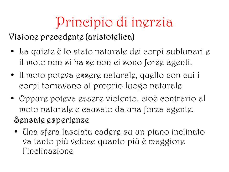 Principio di inerzia Visione precedente (aristotelica)