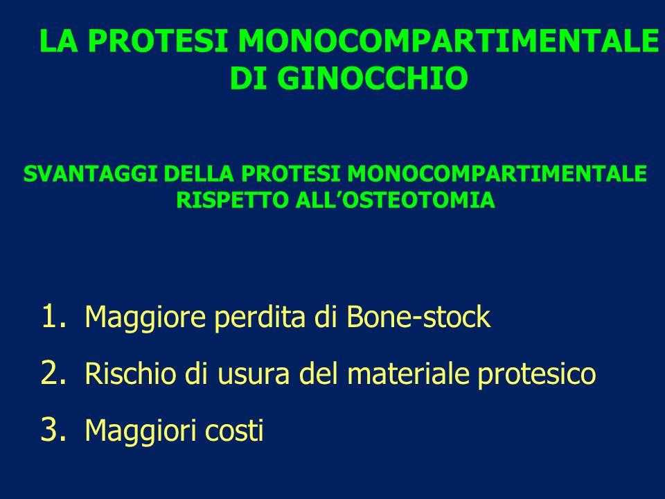 SVANTAGGI DELLA PROTESI MONOCOMPARTIMENTALE RISPETTO ALL'OSTEOTOMIA