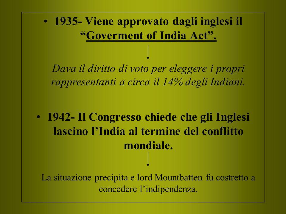 1935- Viene approvato dagli inglesi il Goverment of India Act .