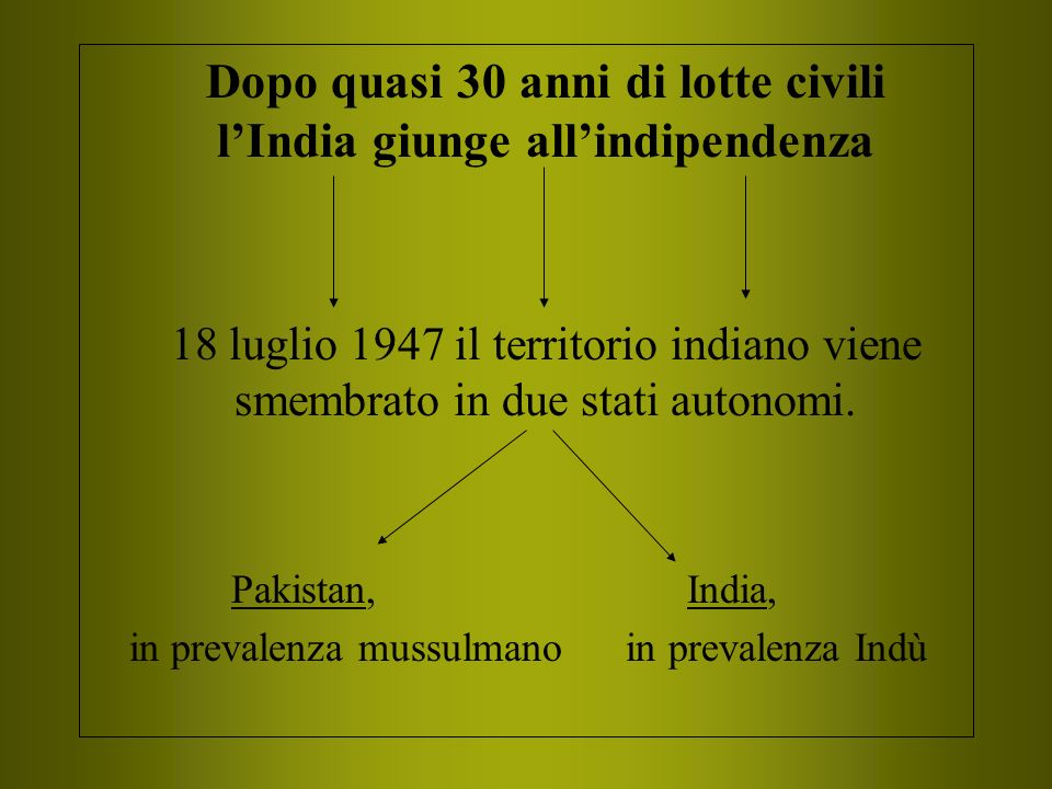 Dopo quasi 30 anni di lotte civili l'India giunge all'indipendenza