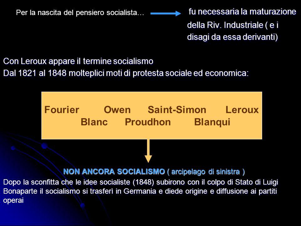 Fourier Owen Saint-Simon Leroux Blanc Proudhon Blanqui