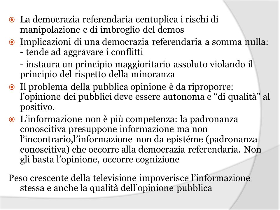 La democrazia referendaria centuplica i rischi di manipolazione e di imbroglio del demos