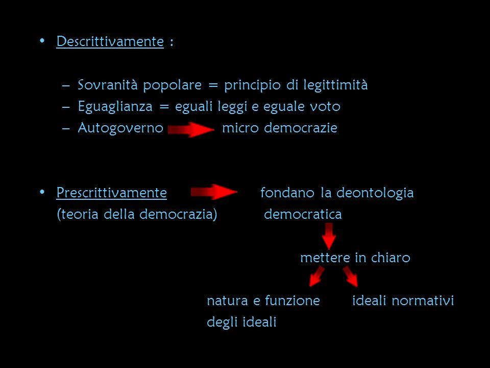 Descrittivamente : Sovranità popolare = principio di legittimità. Eguaglianza = eguali leggi e eguale voto.
