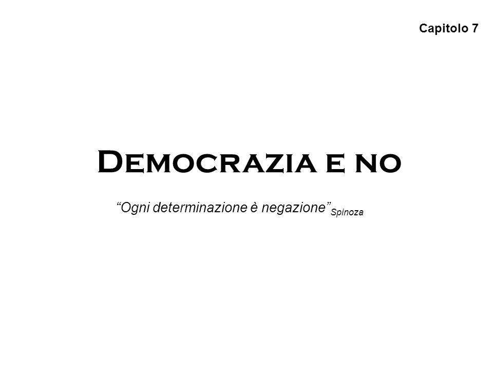 Capitolo 7 Democrazia e no Ogni determinazione è negazione Spinoza