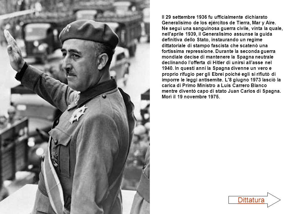 Il 29 settembre 1936 fu ufficialmente dichiarato Generalísimo de los ejércitos de Tierra, Mar y Aire. Ne seguì una sanguinosa guerra civile, vinta la quale, nell aprile 1939, il Generalísimo assunse la guida definitiva dello Stato, instaurando un regime dittatoriale di stampo fascista che scatenò una fortissima repressione. Durante la seconda guerra mondiale decise di mantenere la Spagna neutrale declinando l'offerta di Hitler di unirsi all'asse nel 1940. In questi anni la Spagna divenne un vero e proprio rifugio per gli Ebrei poiché egli si rifiutò di imporre le leggi antisemite. L 8 giugno 1973 lasciò la carica di Primo Ministro a Luis Carrero Blanco mentre diventò capo di stato Juan Carlos di Spagna. Morì il 19 novembre 1975.