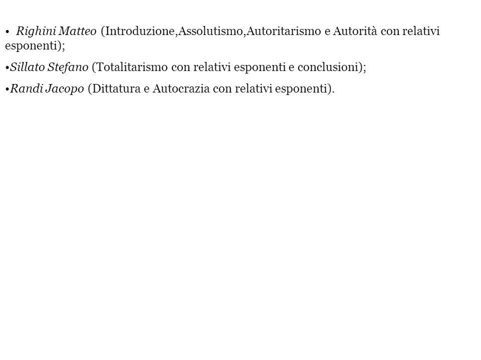 Righini Matteo (Introduzione,Assolutismo,Autoritarismo e Autorità con relativi esponenti);