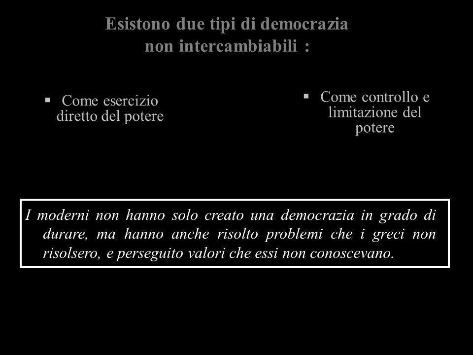 Esistono due tipi di democrazia non intercambiabili :