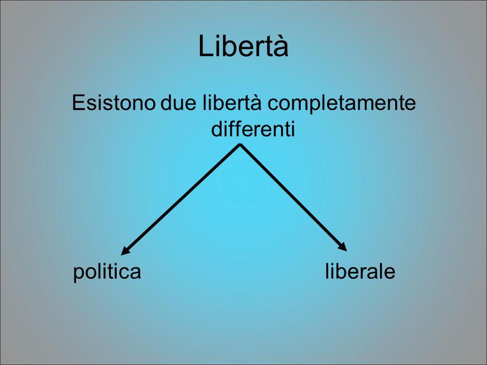 Esistono due libertà completamente differenti
